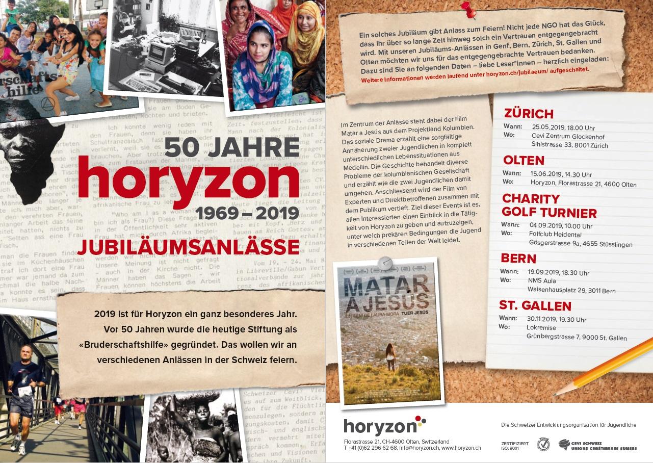 50 Jahre Horyzon - Flyer Jubiläumsanlässe